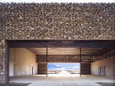 Light through gabion by Herzog et De Meuron
