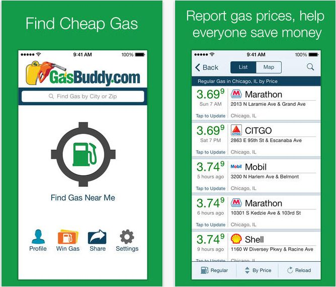 Find the cheapest gas prices on your route with an app like Gas Buddy.