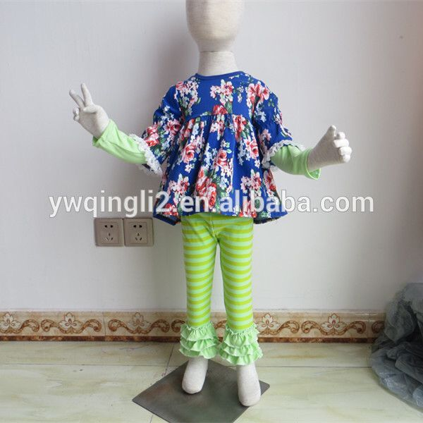 WY469-1Fashion baby mint color ruffle pants & long sleeve shirts 3 pecs outfit wholesale children's boutique clothing