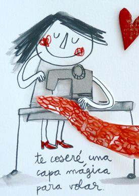 Te coseré una capa mágica | Láminas originales | Anna Llenas