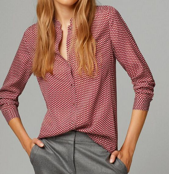 Women red print pattern blouses stand collar long sleeve Blusas Femininas European work wear shirts casual tops