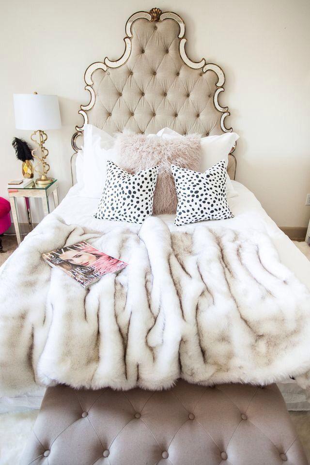 Dalmatian print pillows, faux fur throw, faux Mongolian fur pillows