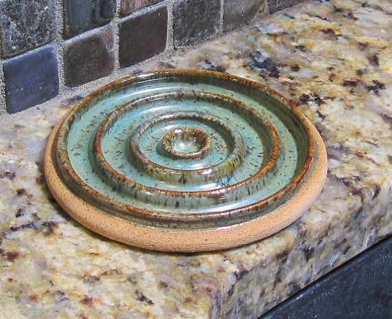 Pottery Soap Dish Sage Green with Brown by CartersStainedGlass, $12.95