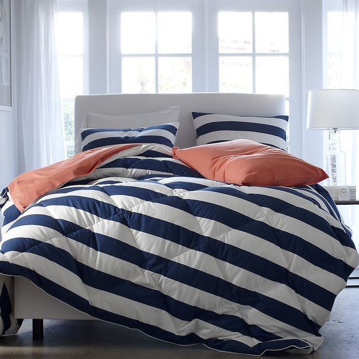 St. Tropez Cabana Stripe Lightweight Down Comforter / Duvet | The Company Store - I want the navy and coral