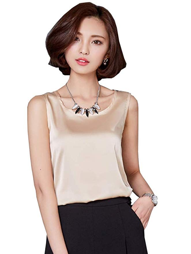 76b18f8767ccca Women's Round Neck Sleeveless Blouse Silk Shell Tops Champagne M |  Professional Work Clothing for