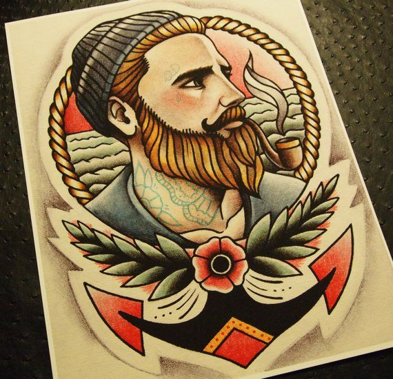 Awesome traditional American style bearded sailor tattoo. Love the flower and rope frame details. My idea of a male pin up ;)