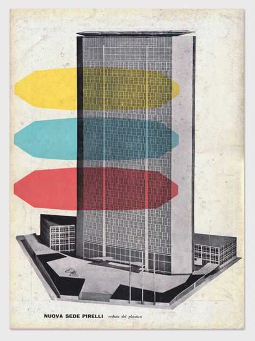 "Advertisement announces the construction of Pirelli's 1956 new corporate office building in Milan, Italy's first skyscraper, the ""Pirelli Tower"" or ""Pirellone"" developed by architect Gio Ponti, with the assistance of structural engineers Pier Luigi Nervi and Arturo Danusso. The three colorized floor-shapes are a stylized representation of Ponti's original graphic identity used to promote the building."