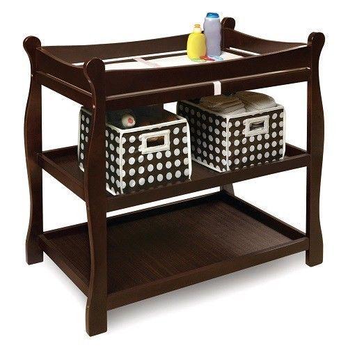 Baby Changing Table Nursery Furniture Station Infant Storage Diaper Espresso Pad #BadgerBasket