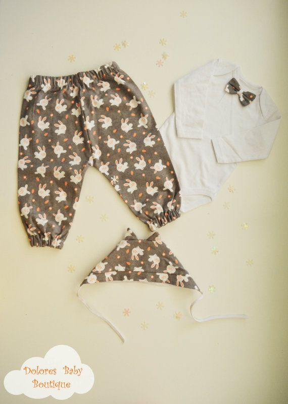 Baby Boy Set Cotton Pants Baby Bonnet Baby by DoloresBabyBoutique