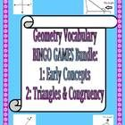 This bundle contains two of my Geometry Vocabulary Bingo Games (available separately at:  Geometry Early Concepts Bingo Game. and Geometry Triangle...