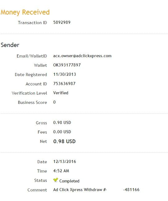 I am getting paid daily at ACX and here is proof of my latest withdrawal. This is not a scam and I love making money online with Ad Click Xpress. Join for FREE and get 20$ + 10$ + 5$ Monsoon, Ad and Media value packs from ACX. My #25 Withdrawal Proof of online income from Ad Click Xpress.