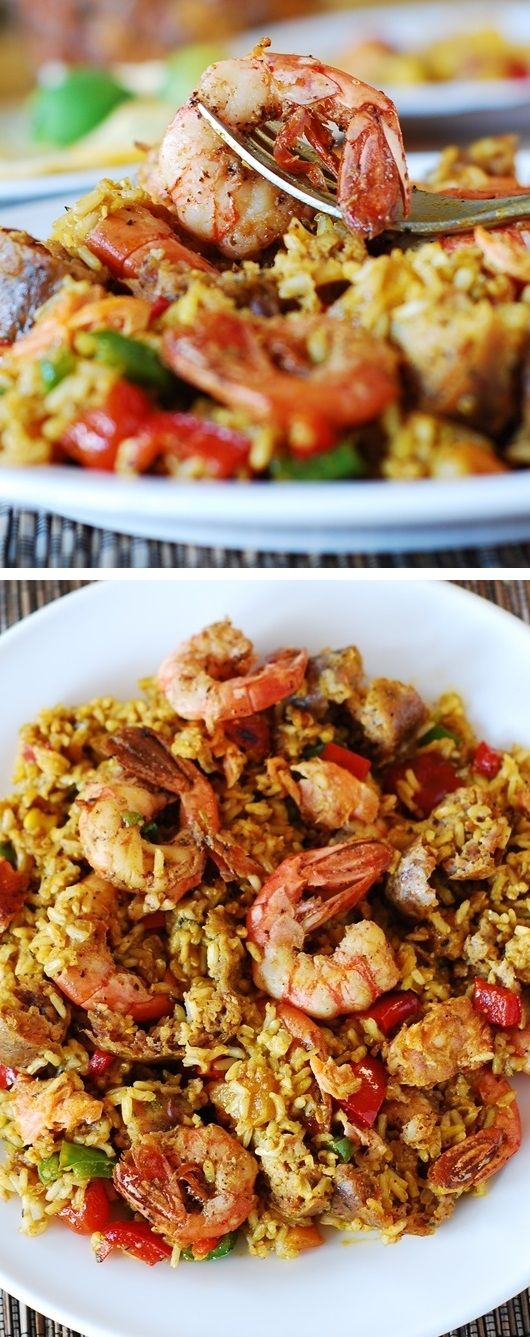 Easy paella with chicken, shrimp and sausage. You can use rice (for gluten-free version) or orzo pasta. Spanish rice recipe.