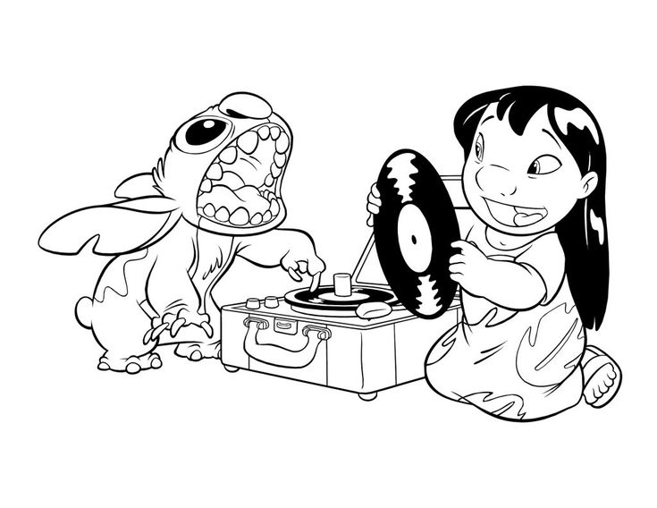 Lilo And Stitch Play Music Laughter Coloring Pages For Kids Printable