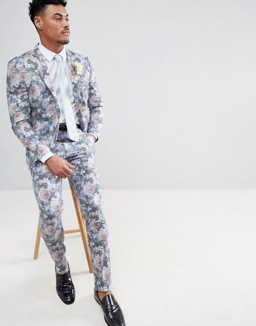 93ed684bc8a13 boohooMAN   boohooMAN Wedding Skinny Fit Suit Jacket With Floral Print In  Multi