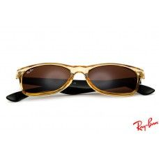 Ray Ban RB2132 Wayfarer sunglasses with gold frame and brown lenses