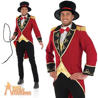 Adult-Male-Ringmaster-Costume-Mens-Circus-Fancy-Dress-Lion-Tamer-Outfit-New