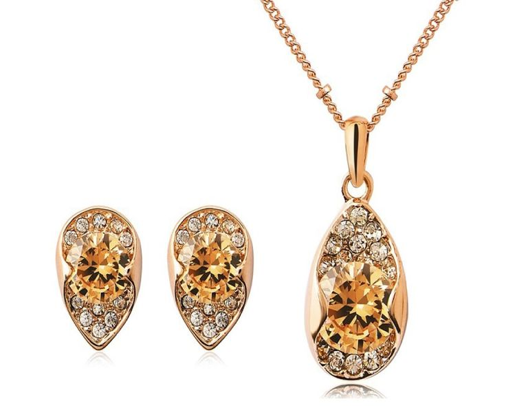 $9 for an 18 Karat Gold Solitaire Tri-Cut Diamond Necklace and Earring Set