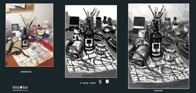 Michele Giorgi Illustrator                     : Still life : 3 value study 04