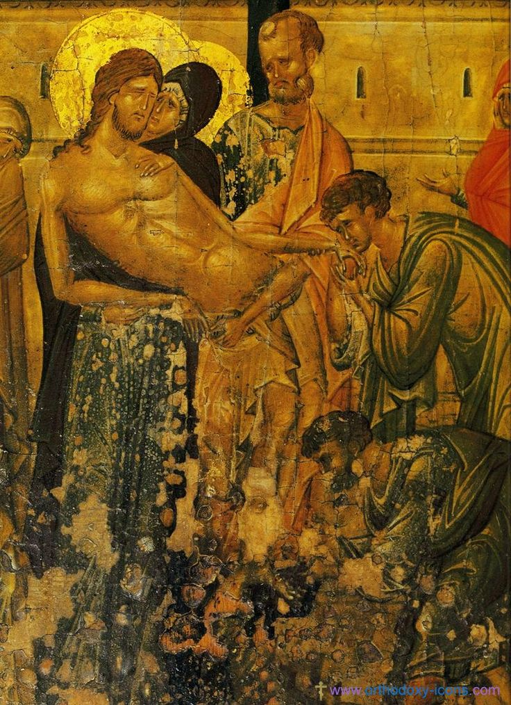 Removing God from the cross. Ancient icons of Jesus Christ