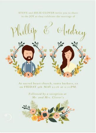 The Most Gorgeous Watercolor Wedding Invitations //  French Meadows Custom Illustration Wedding Invitation. To end off our selection we leave the best for last – how about a totally cute custom illustration of yourself and your partner created by the folks at Heart and Fox!: