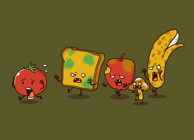 Zombie Food T-shirt by ben chen. Sold at www.threadless.com for $20. A cute little homage to food and zombies. Run little tomato, run!: Ben Chen, Illustration, Art, Food Zombie, Zombie Fruits, Funny Stuff, Things, Zombies