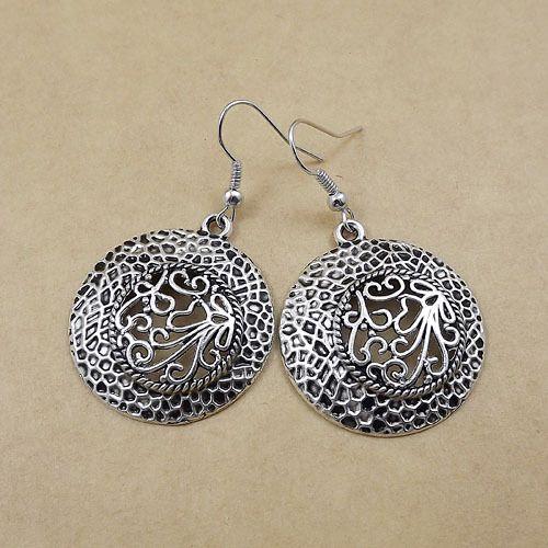 2015 women classic fashion jewelry gift Ethnic Tibetan silver bohemian circle earrings