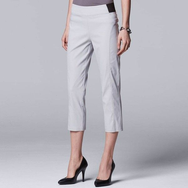 Women's Simply Vera Vera Wang Seamed Twill Capri (120 ILS) ❤ liked on Polyvore featuring pants, capris, light grey, capri trousers, mid calf pants, elastic waist capri pants, elastic waist twill pants and capri pants