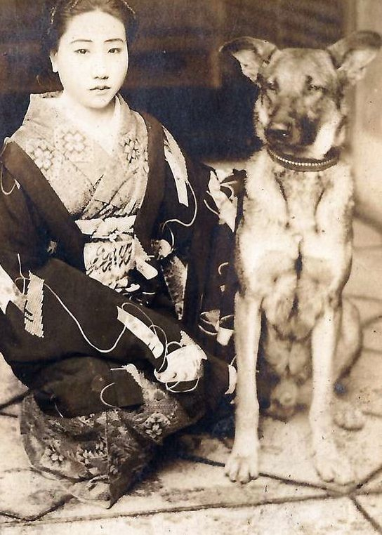 A Japanese Woman and Her German Shepherd (Vintage Photo, Date Unknown)