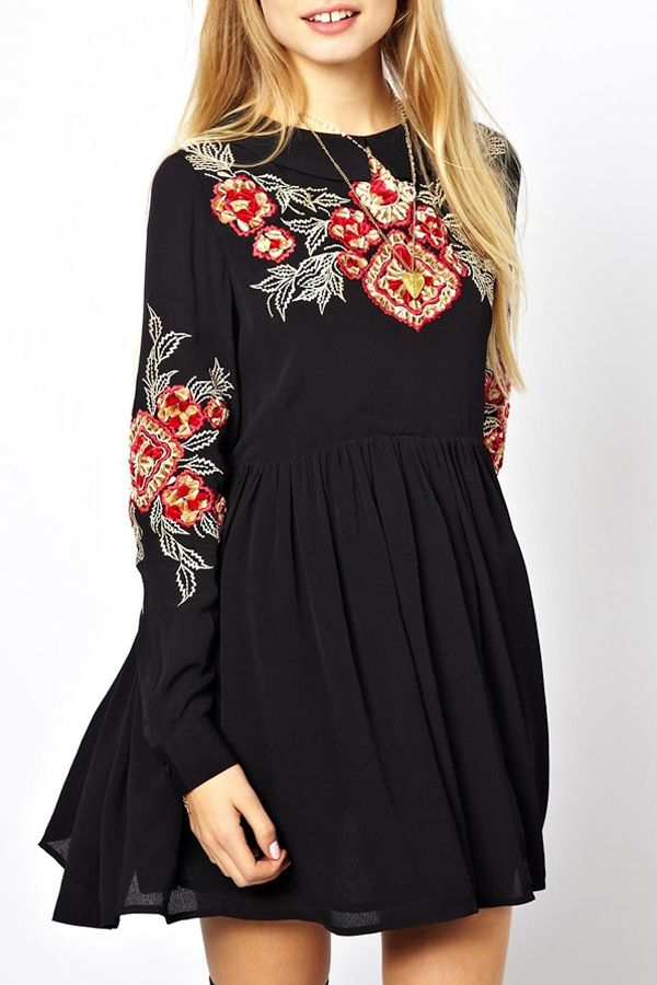 I really like this one- the style of faux embroidery- and the color. Retro Embroidery Round Collar Long Sleeves Dress