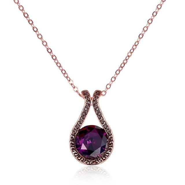 2016 Новый марка Буква G ожерелье Platinum Покрытием Stellux Австрийские Кристаллы Фиолетовый Капли Воды Кулон Ожерелье Бесплатная доставка
