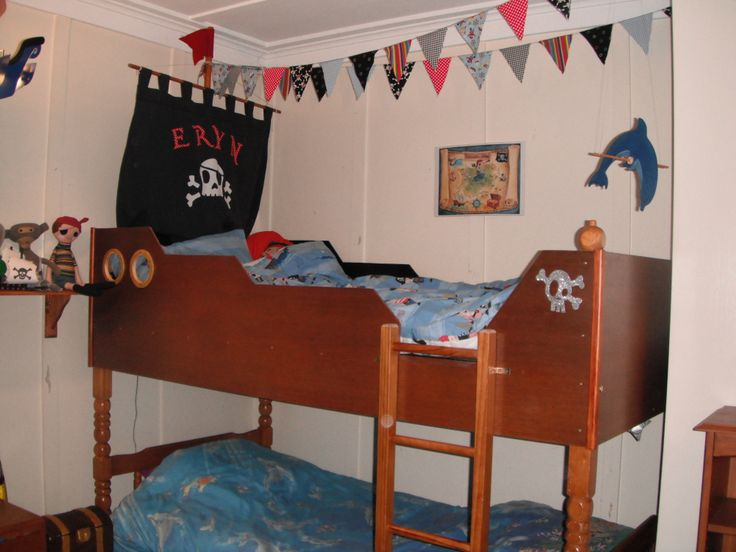 Pirate Ship Bed. An old set of bunks get a makeover.