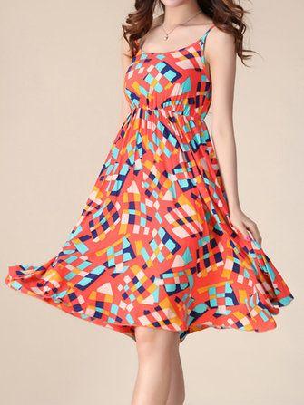 Bohemian Women Strap Flower Pattern Printing Beach A-line Dress at Banggood
