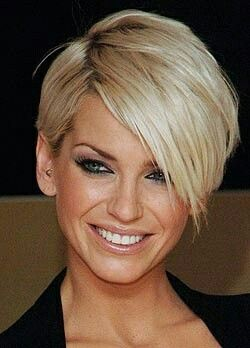 Sarah Harding. Short hair.