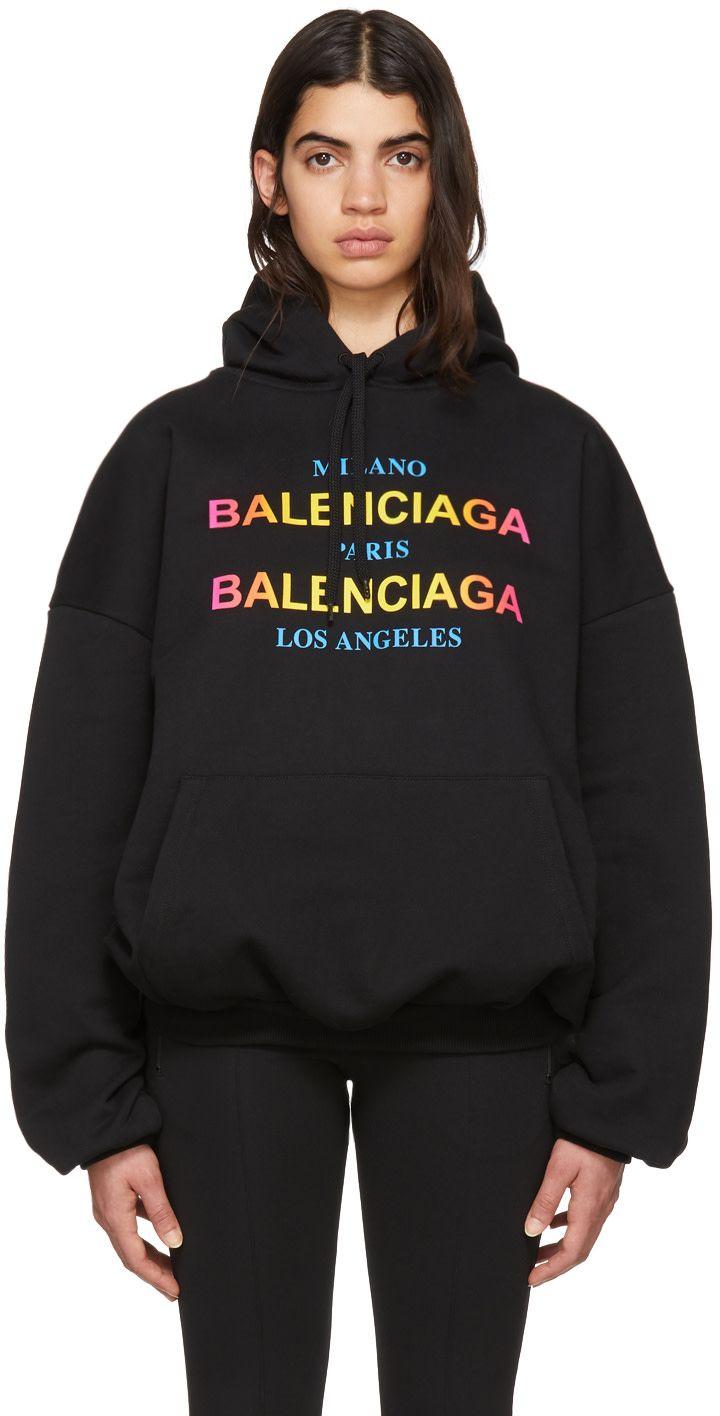 10db8b40e Balenciaga - Black City Logo Hoodie | Sport | Hoodies, City logo ...