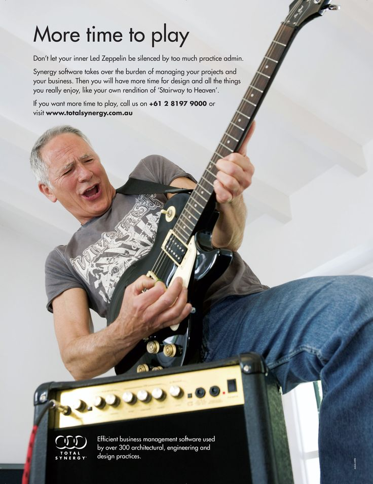 I would like to introduce y'all. The rock 'n roll star, Greg from our 'more time to' campaign in 2011   The right software to manage business – designed for architects and engineers
