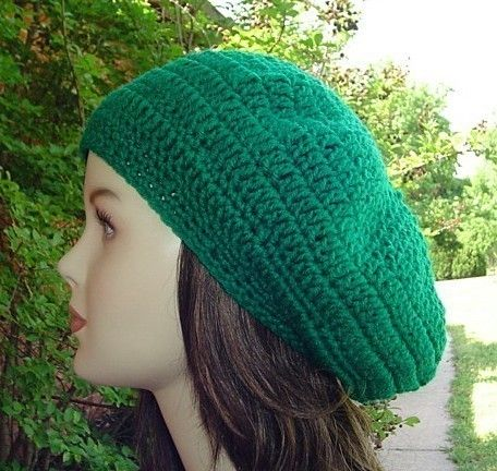 Luck of the Irish classic green beret style hat Emerald Paddy Green Beret Tam Dread Hippie by PurpleSageDesignz, $18.00