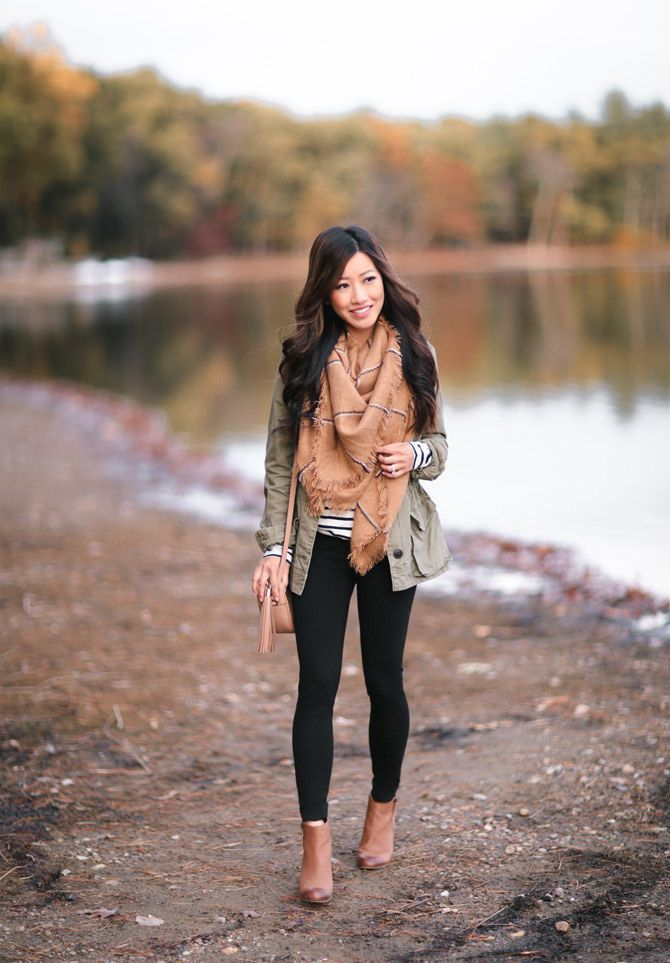 utility jacket + striped tunic tee + leggings + ankle boots