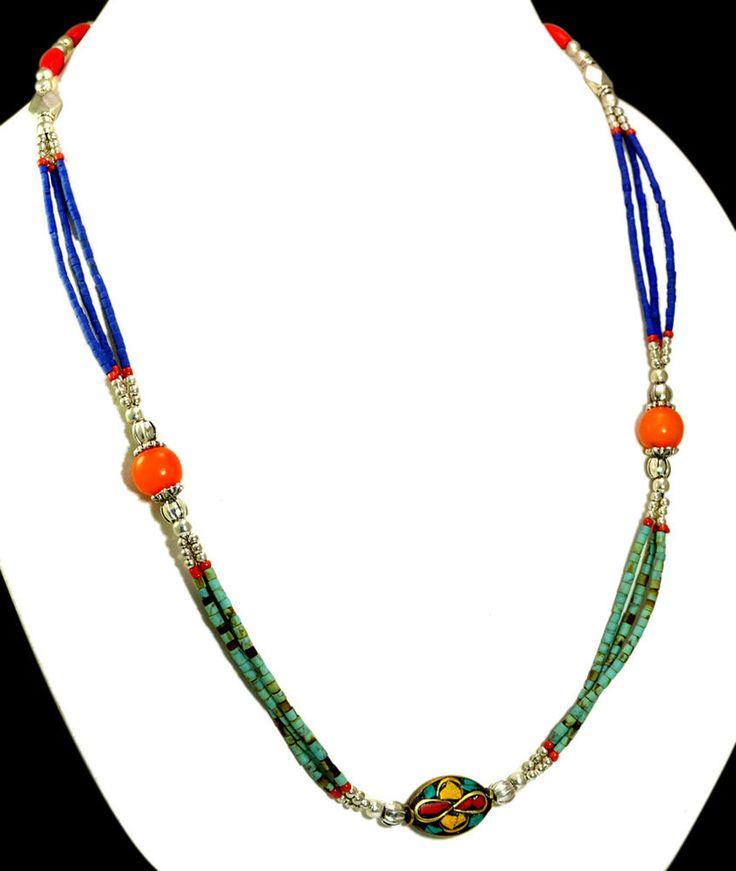 A Vintage Silver Nepali Turquoise Coral & Lapis Gemstone Necklace GNN531 #Handmade #Choker