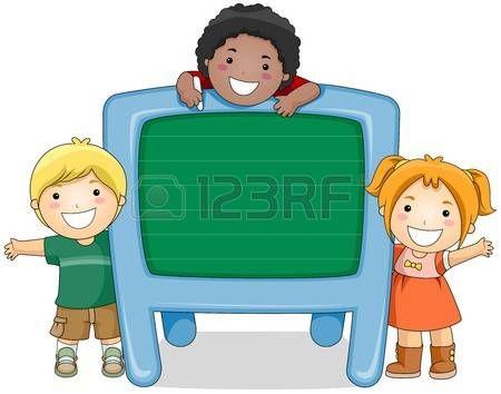 Children with Chalkboard