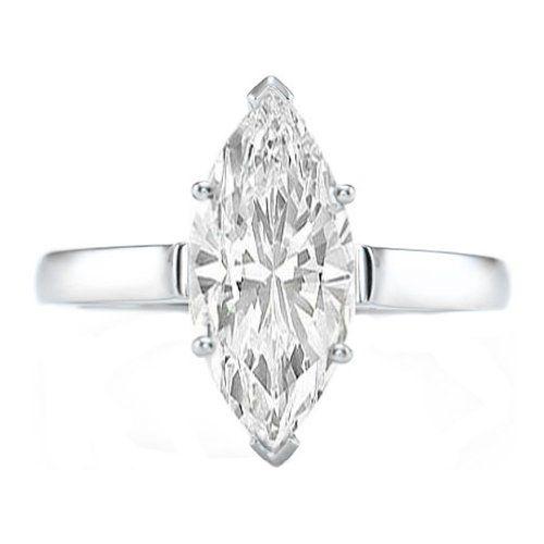 2 05 Carat Platinum GIA Certified Marquise Cut Solitaire Diamond Engagement R