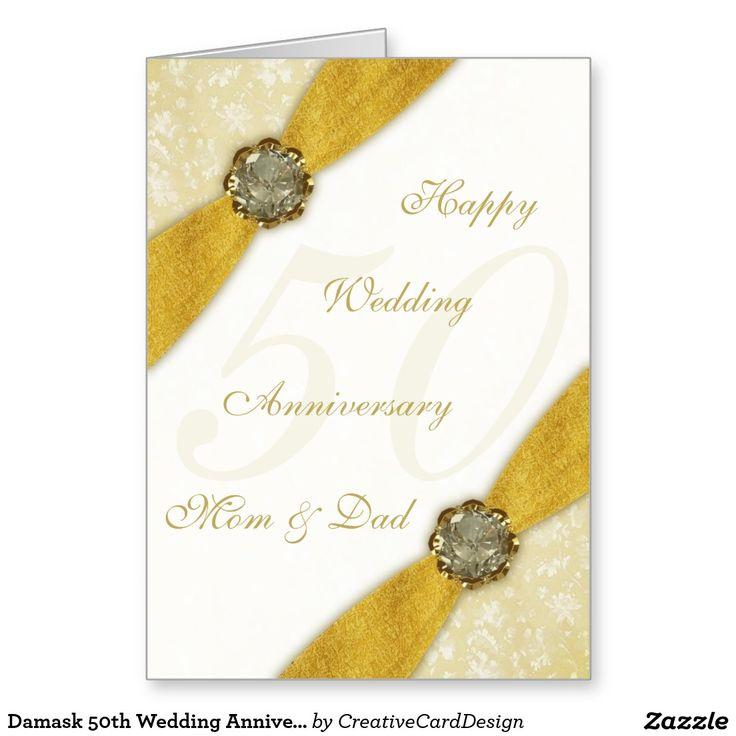 The 221 best 50th wedding anniversaries images on pinterest damask 50th wedding anniversary greeting card m4hsunfo