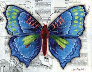 Le papillon bleu peinture d corative pinterest - Bleu vintage peinture ...