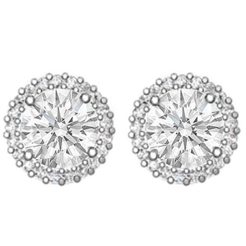 Diamond Earrings - 1.58 carats tcw. Halo Round Cut Diamond Earrings in 14 Karat White Gold H VS2 - REA5WHV-1.5