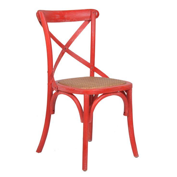 Καρέκλα μπιστρόξύλινησε χρώμα κόκκινη κιμωλίαμε ενσωματομένο ψάθινο κάθισμα, ιδανική και για επαγγελματικούς χώρους.