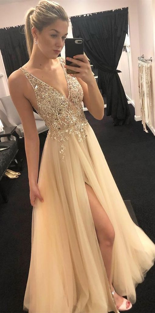 Sexy A-line Beaded Long Prom Dress School Dance Dress Fashion Winter Formal Dress YDP0310