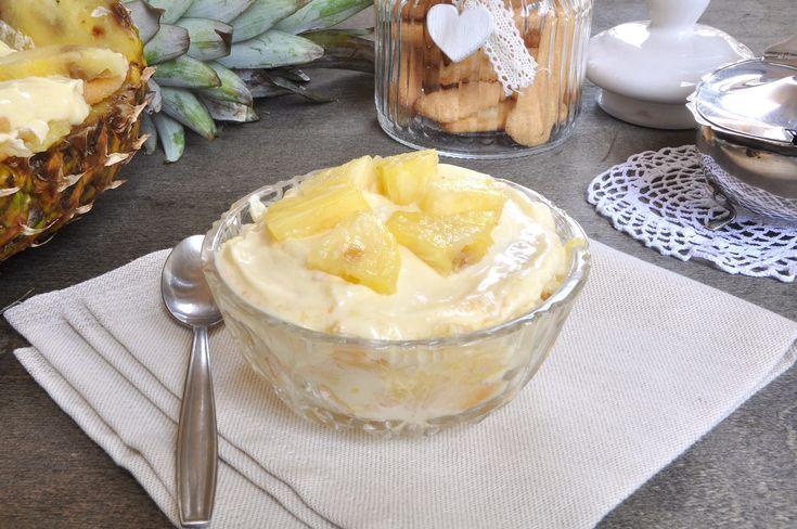 Ecco la ricetta tiramisu ananas Bimby con pavesini, crema al mascarpone e ananas frullato! Un dolce al cucchiaio fresco, buono in ogni stagione.