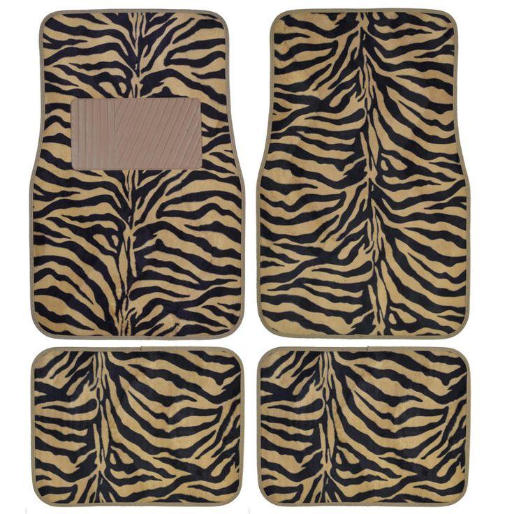 BDK Animal Print Zebra Fur Carpet Floor Mats 4 Piece Front & Rear (6 Color)