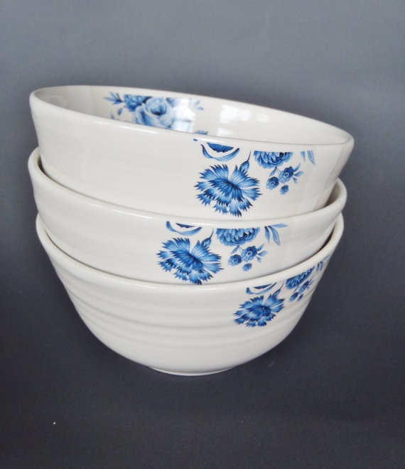Handthrown ceramic bowl with blue flowers by kelverum on Etsy, $35.00