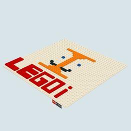 een I gemaakt van lego