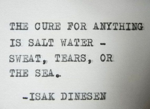 SALT WATER Quote Isak Dinesen Quote typewriter quote on Etsy, £4.26